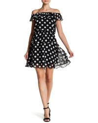 Betsey Johnson - Polka Dot Off-the-shoulder A-line Dress - Lyst