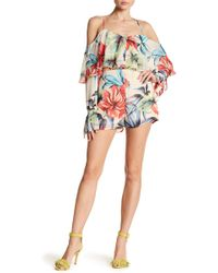 Wow Couture - Patterned Cold Shoulder Long Sleeve Romper - Lyst