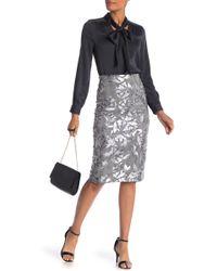 Eci - Foil Floral Skirt - Lyst