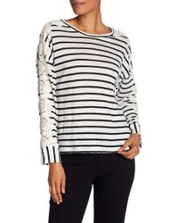 Laundry by Shelli Segal - Linen Stripe Lace Sleeve Top - Lyst