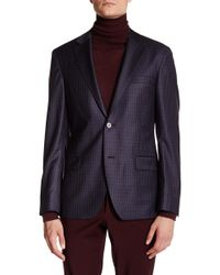Ike Behar - Charcoal Plaid Double Button Notched Lapel Wool Jacket - Lyst