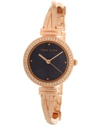 Anne Klein - Women's Embellished Rose Gold Bangle Watch - Lyst