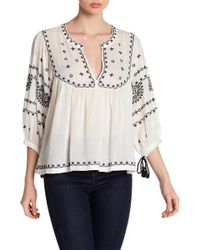 Lucky Brand - Soft Embroidered Folk Blouse - Lyst
