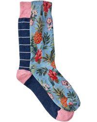 Original Penguin - Assorted Printed Crew Socks - Pack Of 2 - Lyst