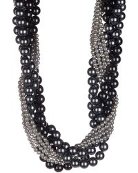 Splendid - 4-11mm Gray & Black Shell & Ocean Pearl Torsade Necklace - Lyst