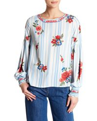 Jealous Tomato - Floral Print Smocked Cuff Blouse - Lyst