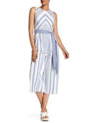 Eliza J - Chevron & Stripe Jumpsuit - Lyst
