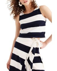 ebb439d4d3f Lyst - J.Crew Collection Rugby-stripe Sequin Tank Top in Blue