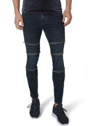 TOPMAN - Multi Zip Spray-on Jeans - Lyst