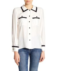 FRAME - Double Front Pocket Silk Blouse - Lyst