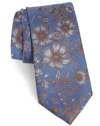 Calibrate - Fletcher Floral Print Silk & Cotton Tie - Lyst