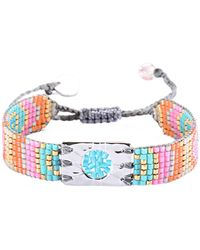 Mishky - Circle Of Life Charm Multi Colored Beaded Sliding Knot Bracelet - Lyst