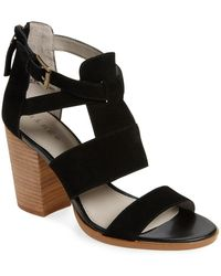 Hinge - Cora Suede Block-Heeled Sandals - Lyst