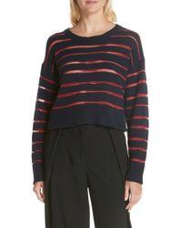 Rag & Bone - Penn Cropped Sweater With Sheer Stripe Detail - Lyst