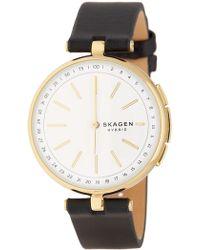 Skagen - Women's Signatur T-bar Hybrid Smart Leather Strap Watch, 36mm - Lyst