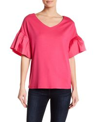 Gibson - Ruffle Sleeve V-neck Top - Lyst