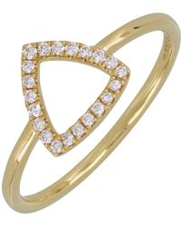 8d102dcde8db8 18k Yellow Gold Pave Diamond Open Triangle Ring - 0.10 Ctw