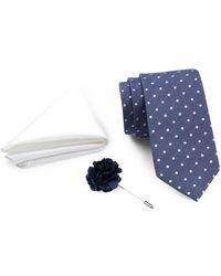 Ben Sherman - Dot Tie, Solid Pocket Square, & Lapel Pin Box Set - Lyst