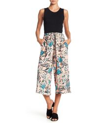 June & Hudson - Front Tie Cropped Palazzo Pants - Lyst