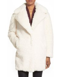 Kensie - 'teddy Bear' Notch Collar Reversible Faux Fur Coat - Lyst