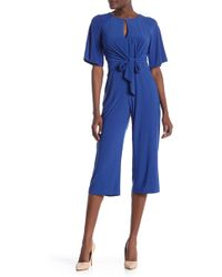 Laundry by Shelli Segal - Tie Front Cropped Jumpsuit - Lyst