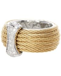 Alor - 18k White Gold Diamond Detail Multi Strand Cable Ring - 0.12 Ctw - Lyst