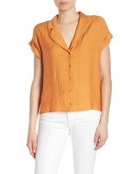 Lush - Collared Short Sleeve Blouse - Lyst