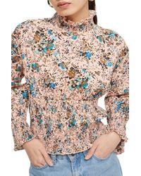 TOPSHOP - Floral Print Smock Blouse - Lyst