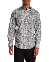 Thomas Dean - Floral Long Sleeve Sport Fit Shirt - Lyst