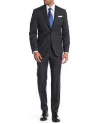 Ted Baker - Grey Windowpane Two Button Notch Lapel Wool Slim Fit Suit - Lyst