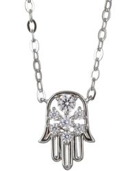 Nadri - Rhodium Plated Cz Hamsa Pendant Necklace - Lyst