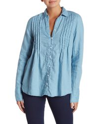 Free People - Breezy Mornings Button Down Linen Blend Shirt - Lyst