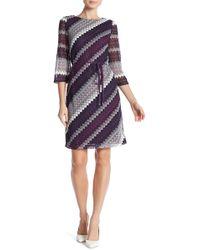 Sandra Darren - 3/4 Sleeve Knit Dress - Lyst