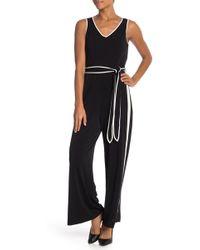 ab3ce0a8f21e Lyst - Lauren by Ralph Lauren Two-tone Jersey Jumpsuit in Black