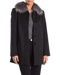 Sofia Cashmere - Genuine Fox Fur Trim Car Coat - Lyst