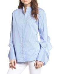 Trouvé - Stripe Ruffle Poplin Top - Lyst