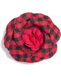 Hook + Albert - Checked Poplin Lapel Flower - Lyst