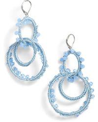 Rebecca Minkoff - Thread Wrapped Interlocking Hoop Earrings - Lyst