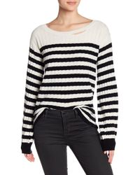 Pam & Gela - Destroyed Striped Rib Wool Blend Sweater - Lyst