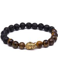 Something Strong - 8mm Zinc Alloy Imitation Lava Stone Expandable Beaded Buddha Bracelet - Lyst