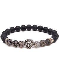 Something Strong - 8mm Zinc Alloy Imitation Onyx Stone Expandable Beaded Lion Bracelet - Lyst