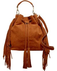 B Brian Atwood - Everly Drawstring Fringe Leather Bucket Bag - Lyst