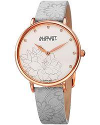 August Steiner | Women's Genuine Diamond Embossed Flower Design Leather Strap Watch | Lyst