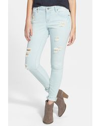 Volcom - Distressed Super Skinny Jean - Lyst