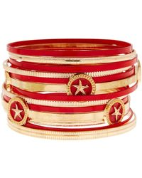 Sparkling Sage - Starfish Circle Alternating Color Bangle Bracelet - Lyst