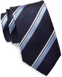 Bristol & Bull - Navy & Light Blue Striped Silk Tie - Lyst