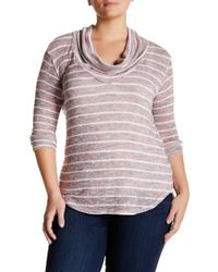 Everleigh - Long Sleeve Cowl Neck Hatchi Sweater (plus Size) - Lyst