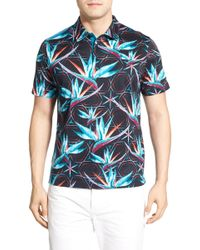 Bugatchi - Floral Print Regular Fit Jersey Polo - Lyst