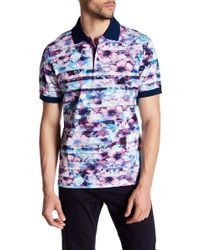 Bugatchi - Print Regular Fit Jersey Polo - Lyst