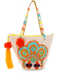 Raj | Embroidered Pompom Beach Tote | Lyst